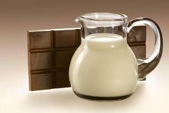 Jug with milk and chocolate Royalty Free Stock Photo