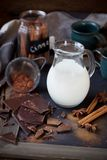 Jug of milk, dark chocolate , cinnamon sticks and cinnamon Royalty Free Stock Image