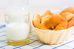Jug of milk and fresh rolls for breakfast Stock Image