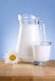 Jug milk, Glass and chamomile is wooden table Stock Images