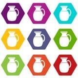 Jug of milk icon set color hexahedron. Jug of milk icon set many color hexahedron isolated on white vector illustration Royalty Free Stock Photos
