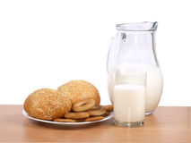 Jug with milk and loaves Royalty Free Stock Images