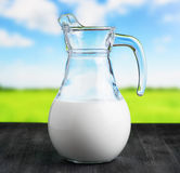Jug of milk on meadow background. Half full pitcher Royalty Free Stock Photo