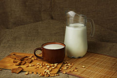 Jug with a milk mug. Still life in rural style with a jug and a mug of milk Stock Images