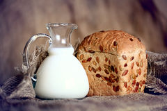 Jug with milk and whole Royalty Free Stock Photo