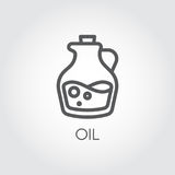 Jug with oil icon. Food symbol in thin line style. Culinary concept. Vector outline illustration. On a gray background Stock Photography