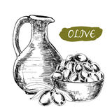 Jug and olives Royalty Free Stock Image