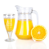 Jug of orange juice and citrus fruits Royalty Free Stock Images