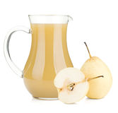 Jug of pear juice and ripe white pears stock images