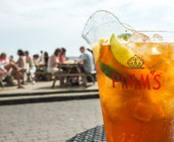Jug of Pimm's Drink Outdoors Stock Photography