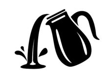 Jug pour out milk or water canister. Simple logo. royalty free stock photography