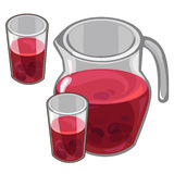 Jug with red berry compote and filled glasses. Cartoon style. Vector illustration on a white background for your design needs Royalty Free Stock Photos