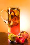 Jug With Sangria And Peaches stock image