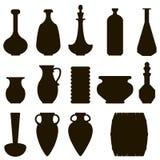 Jug set. Dark silhouette of jug set vector illustration