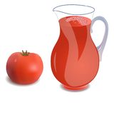 A  jug of tomato juice. A jug of tomato juice or a cocktail and tomato. Vector illustration Stock Image