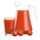 Jug of tomato juice, glass and Cherry tomatoes Stock Images