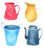 Jug watercolor collection isolated on white background , Hand drawn character for Kids, Greeting Card , Cases design,. Postcards, Product, Notebook and more vector illustration