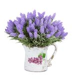 Jug with wild flowers isolated on white background Royalty Free Stock Photos