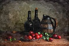 Jug of young wine. Rustic still-life. Painting wet watercolor on paper. Naive art. Drawing watercolor on paper. Jug of young wine. Rustic still-life. Painting royalty free stock image