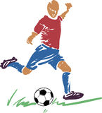 Jugador abstracto del fútbol (balompié) con una bola Imagen de archivo libre de regalías