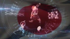 Jugador afroamericano del rugbi que golpea la bola con el pie mientras que postura y salud w de los jugadores del análisis de int stock de ilustración
