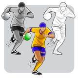 Jugador corriente del rugbi Imagen de archivo libre de regalías