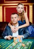 Jugador de abarcamiento de la muchacha en el vector del casino Fotografía de archivo libre de regalías