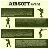 Jugador de Airsoft en el ejemplo a mano del equipo táctico stock de ilustración