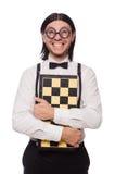 Jugador de ajedrez del empollón aislado Imagen de archivo libre de regalías