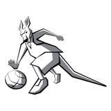 Jugador de básquet del canguro stock de ilustración