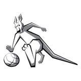 Jugador de básquet 3 del canguro ilustración del vector