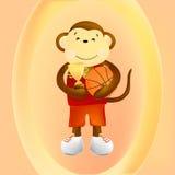 Jugador de básquet del mono ilustración del vector