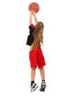 Jugador de básquet del niño de la muchacha fotos de archivo