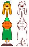 Jugador de básquet del perro que celebra la bola ilustración del vector