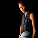Jugador de básquet negro joven Fotografía de archivo libre de regalías