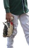 Jugador de béisbol aislado en camisa verde Imágenes de archivo libres de regalías