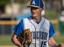 Jugador de béisbol joven Imágenes de archivo libres de regalías