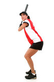 Jugador de beísbol con pelota blanda femenino listo para golpear Imagen de archivo