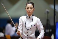 Jugador de billar de Cha Yu-Ram de la Corea del Sur Imagen de archivo libre de regalías