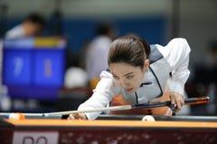 Jugador de billar de Cha Yu-Ram de la Corea del Sur Imágenes de archivo libres de regalías