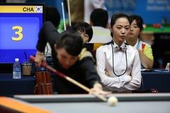 Jugador de billar de Cha Yu-Ram de la Corea del Sur Foto de archivo libre de regalías