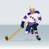 Jugador de equipo de hockey del hielo de los E.E.U.U. stock de ilustración
