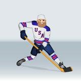 Jugador de equipo de hockey del hielo de los E.E.U.U. Fotos de archivo libres de regalías