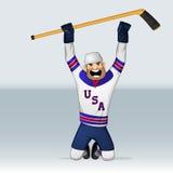 Jugador de equipo de hockey del hielo de los E.E.U.U. Imagen de archivo