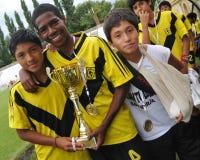 Jugador de fútbol alegre Fotografía de archivo