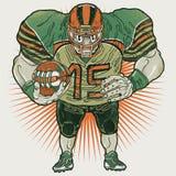 Jugador de fútbol americano agresivo que celebra la bola ilustración del vector