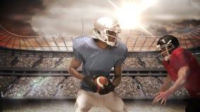 Jugador de fútbol americano serio que aborda para la bola stock de ilustración