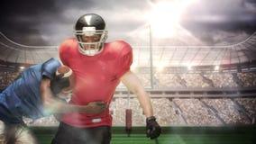 Jugador de fútbol americano serio que aborda para la bola libre illustration
