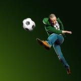 Jugador de fútbol asiático Imágenes de archivo libres de regalías