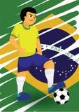 Jugador de fútbol brasileño Fotografía de archivo libre de regalías
